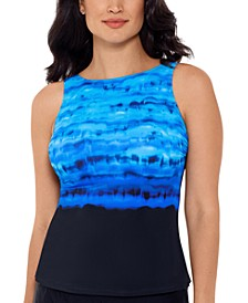 Conceptual Waters Printed High-Neck Tankini Top