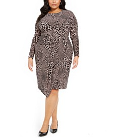 Plus Size Animal-Print Faux-Wrap Dress, Created for Macy's