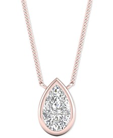 "Diamond Pear Bezel 18"" Pendant Necklace (1/2 ct. t.w.) in 14k Rose Gold"