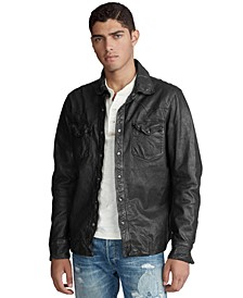 Men's Washed Leather Shirt Jacket