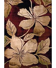 "Contours Floral Canvas 510 28834 912 Burgundy 7'10"" x 10'6"" Area Rug"