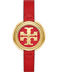 Women's The Miller Red Leather Strap Watch 36mm