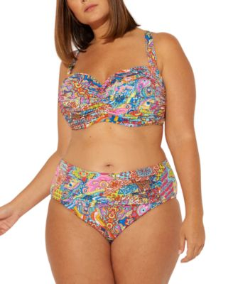 Plus Size Groovy Baby Printed Ruched Tummy-Control Bikini Bottoms