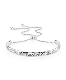 """""""Fearless"""" Silver Plated Adjustable Bolo Bracelet"""