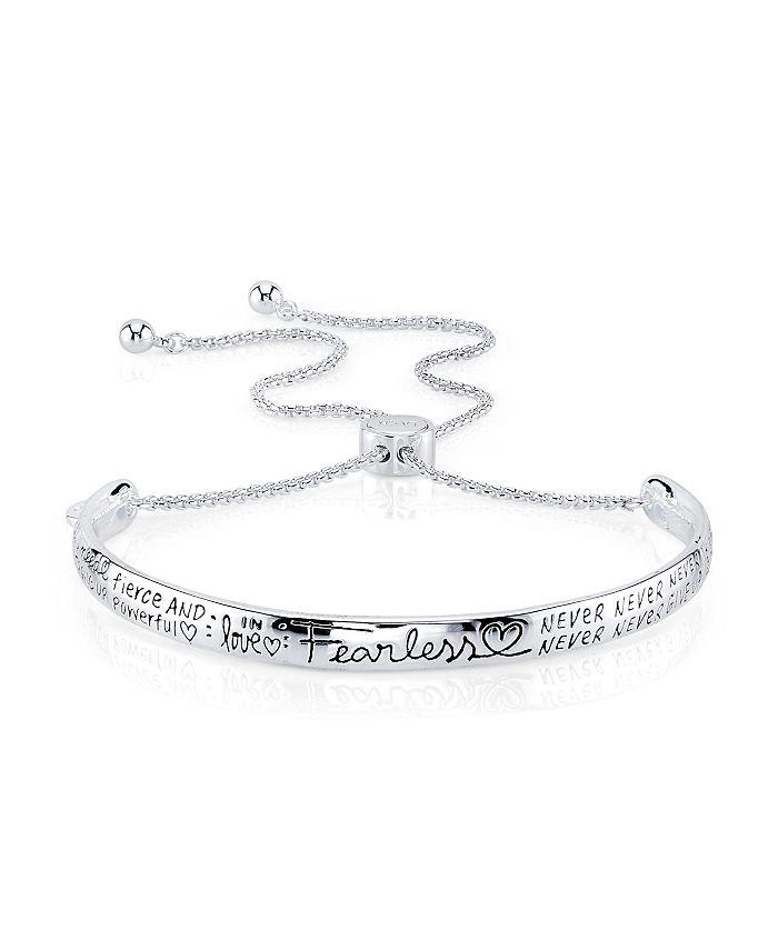 "Unwritten - ""Fearless"" Silver Plated Adjustable Bolo Bracelet"