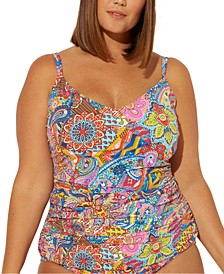 Bleu Rod Beattie Plus Size Groovy Baby! Printed Scoop Neck Floating Underwire Tankini Top
