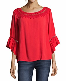 Crochet-Trim Ruffle-Sleeve Blouse