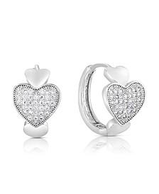 Cubic Zirconia Silver Heart Hoop in Fine Silver Plate