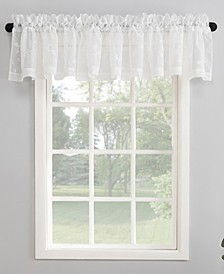 """50"""" x 17"""" Delia Embroidered Floral Sheer Curtain Valance"""