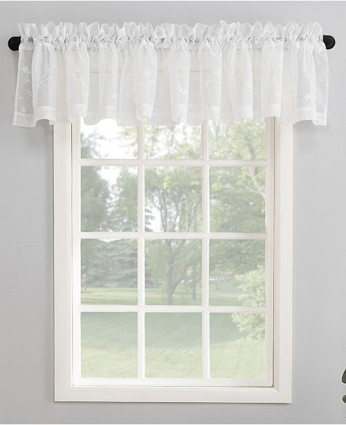 "Lichtenberg No. 918 50"" x 17"" Delia Embroidered Floral Sheer Curtain Valance"