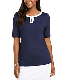 Contrast-Trim Keyhole Elbow-Sleeve Top, Created For Macy's