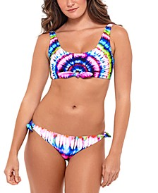 Juniors' Tie-Dyed Bikini Top & Bottoms, Created for Macy's