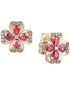 Certified Passion Ruby (1-3/4 ct. t.w.) & Diamond (1/5 ct. t.w.) Flower Stud Earrings in 14k Gold