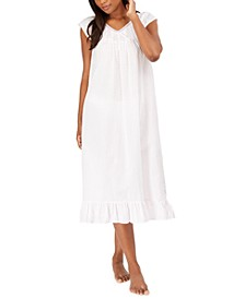 Cotton Ruffle-Hem Swiss Dot Nightgown