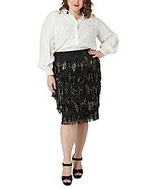 Plus Size Sequined Fringe Skirt