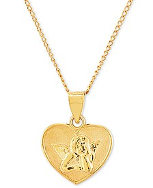 """Guardian Angel Heart 18"""" Pendant Necklace in 14k Gold-Plated Sterling Silver"""