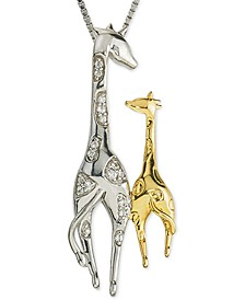 "Diamond Giraffe Mother & Child 18"" Pendant Necklace (1/10 ct. t.w.) in Sterling Silver & 10k Gold"
