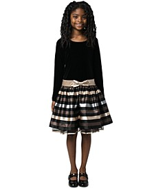 Big Girls Velvet Striped Dress