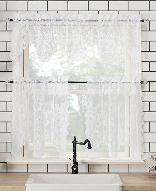 Lichtenberg No. 918 Alison Floral Lace Sheer Valance and Tiers Set 58x24