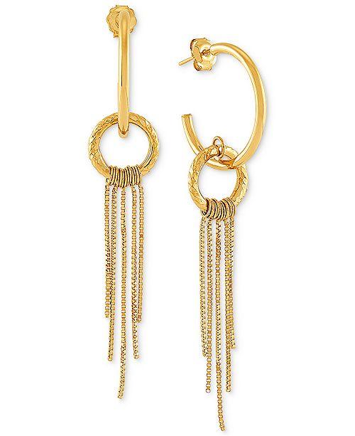 Macy's Circle Chain Dangle Hoop Earrings in 14k Gold