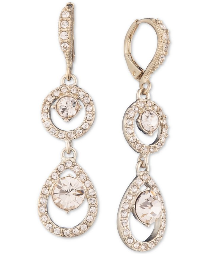 Givenchy - Rose Gold-Tone Crystal Double Drop Earrings