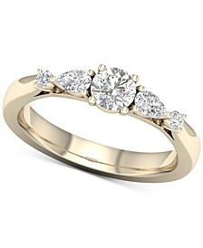 Diamond Round & Pear Engagement Ring (1 ct. t.w.) in 14k Gold