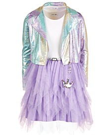 Big Girls 2-Pc. Sparkle Moto Jacket & Tulle Dress Set