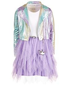 Big Girls 2-Pc. Sparkle Moto Jacket & Tulle Dress Set