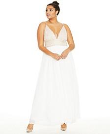 Trendy Plus Size Beaded Chiffon Gown