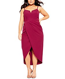Trendy Plus Size Notched-Neck High-Low Dress