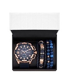 Men's Rose Gold/Navy Analog Quartz Watch And Holiday Stackable Gift Set