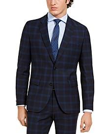 Men's Modern-Fit Navy Plaid Suit Jacket