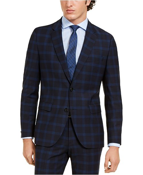 HUGO Hugo Boss Men's Classic-Fit Navy Plaid Suit Separate Jacket