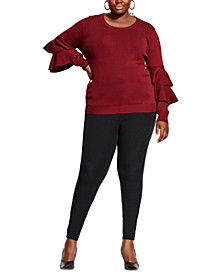 Trendy Plus Size Ruffled-Sleeve Sweater