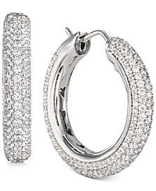 "Cubic Zirconia Pavé Small Hoop Earrings in Sterling Silver, 1"""