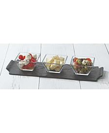Slate Rectangular Server with 3 Bowls
