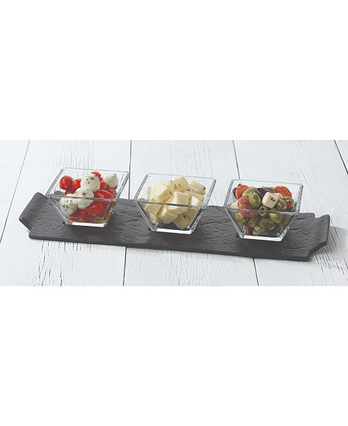 Libbey CLOSEOUT! Slate Rectangular Server with 3 Bowls