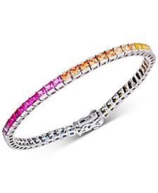 Cubic Zirconia Rainbow Tennis Bracelet in Sterling Silver