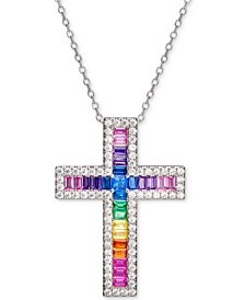 "Cubic Zirconia Rainbow Baguette Cross 18"" Pendant Necklace in Sterling Silver"