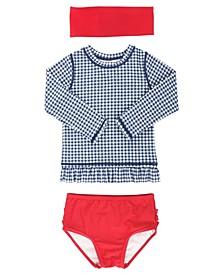 Toddler Girl's Long Sleeve Rash Guard Swimsuit Swim Headband Set, 2 Piece