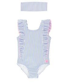 Toddler Girls Waterfall Ruffled Swimsuit Swim Headband Set