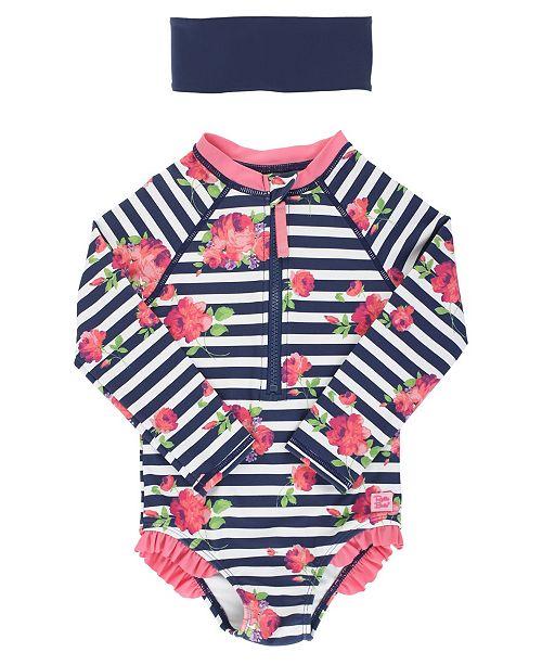 RuffleButts Toddler Girls Long Sleeve Rash Guard Swimsuit Swim Headband Set, 2 Piece