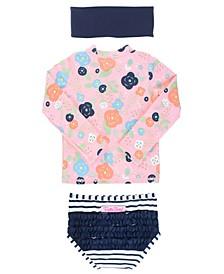 Baby Girls Long Sleeve Rash Guard Bikini with Zipper Swim Headband Set, 2 Piece