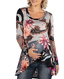 Maternity Flared Floral Long Sleeve Hi Low Tunic Top