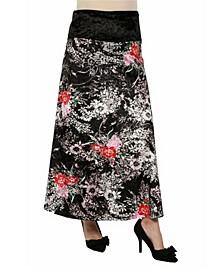 Women's Floral Print Velvet Maternity Maxi Skirt