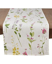 Linen Table Runner with Watercolor Floral Stem Design