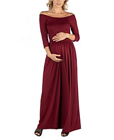 Off Shoulder Pleated Waist Maternity Maxi Dress