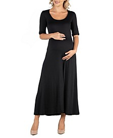 Casual Maternity Maxi Dress with Sleeves
