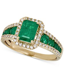 Emerald (1-1/2 ct. t.w.) & Diamond (1/4 ct. t.w.) Ring in 14k Gold
