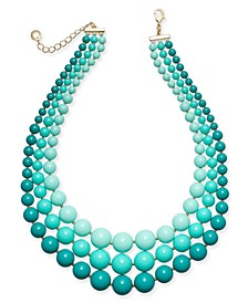"""Gold-Tone Imitation Pearl Triple-Row Statement Necklace, 18"""" + 2"""" extender, Created for Macy's"""
